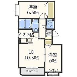 北海道札幌市北区あいの里三条8の賃貸マンションの間取り