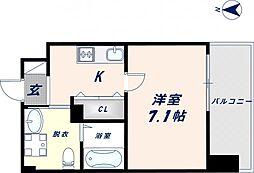 JPRESIDENCE大阪城東II 5階1Kの間取り