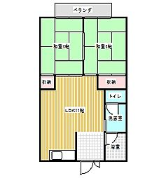 コーポ芦原園[1階]の間取り