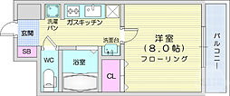 仙台市営南北線 広瀬通駅 徒歩7分の賃貸マンション 7階1Kの間取り