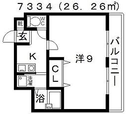 サンコークレアール[302号室号室]の間取り