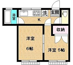 神奈川県川崎市多摩区東生田2丁目の賃貸アパートの間取り