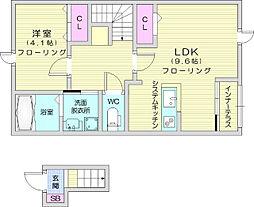 仙台市地下鉄東西線 八木山動物公園駅 8kmの賃貸アパート 2階1LDKの間取り