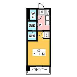 ヴィークブライト名古屋新栄 6階1Kの間取り