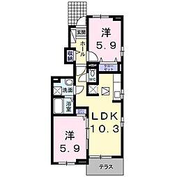 ロータス南島田C[101号室]の間取り