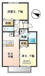 愛知県名古屋市緑区大高町字二番割の賃貸アパートの間取り