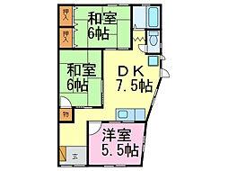 アパートメント岡ノ脇B棟[3号室]の間取り