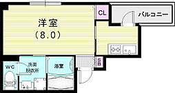 コウリュウマンション 4階1Kの間取り