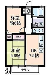 東京都北区豊島6丁目の賃貸アパートの間取り