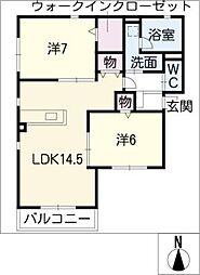 愛知県名古屋市天白区菅田2丁目の賃貸アパートの間取り