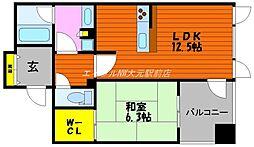 岡山県岡山市北区表町1丁目の賃貸マンションの間取り