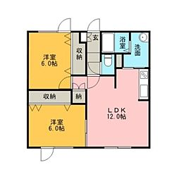 グランディール4番通[2階]の間取り