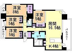 ル・ケレス宮の沢ザ・フロント 12階4LDKの間取り