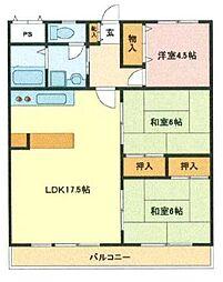 埼玉県さいたま市浦和区瀬ケ崎4丁目の賃貸マンションの間取り