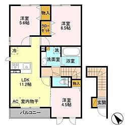 (仮)D-room西野田 B[2階]の間取り
