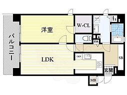 リーガル新大阪駅前 6階1LDKの間取り