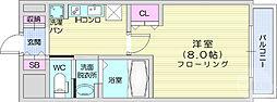 仙台市地下鉄東西線 国際センター駅 徒歩10分の賃貸マンション 4階1Kの間取り