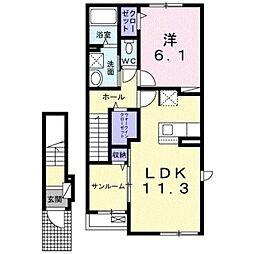 伊予鉄道郡中線 余戸駅 3.2kmの賃貸アパート 2階1LDKの間取り