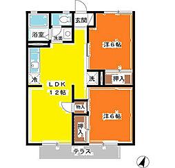 埼玉県越谷市大字大里の賃貸アパートの間取り