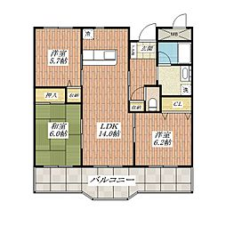 大阪府茨木市春日4の賃貸マンションの間取り