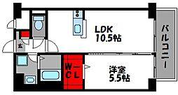 JR篠栗線 柚須駅 徒歩19分の賃貸マンション 6階1LDKの間取り