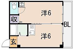 ビガーポリス東大阪ロータスマンション[3階]の間取り