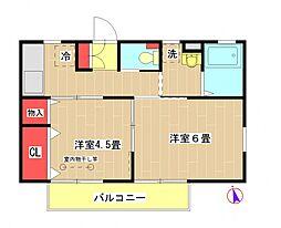 東京都町田市鶴間3丁目の賃貸アパートの間取り