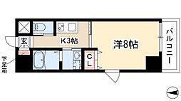 BERG IZUMI 7階1Kの間取り