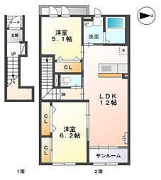 高木西賃貸アパート新築工事[203号室]の間取り