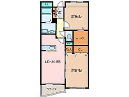 三重県松阪市郷津町の賃貸マンションの間取り