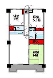 エクレール福岡東[4階]の間取り