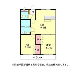 愛知県一宮市丹陽町九日市場字堂尻の賃貸アパートの間取り