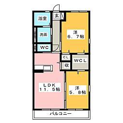 愛知県名古屋市中川区新家2の賃貸アパートの間取り
