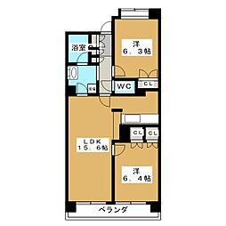 東仙台六番館[3階]の間取り