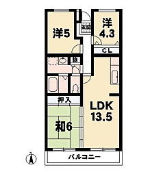 リヴァージュ瀬田[3階]の間取り