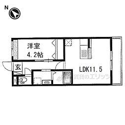 阪急京都本線 西京極駅 徒歩12分の賃貸マンション 3階1LDKの間取り