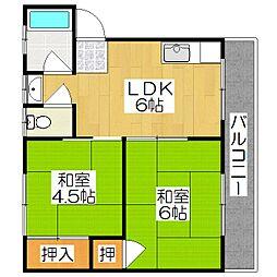 藤和荘[2-W号室]の間取り