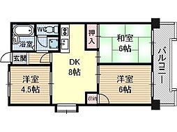 鮎川ハイツ[1階]の間取り