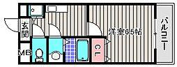 大阪府堺市堺区北三国ヶ丘町3丁の賃貸マンションの間取り