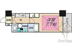 アーバネックス堂島 8階1Kの間取り