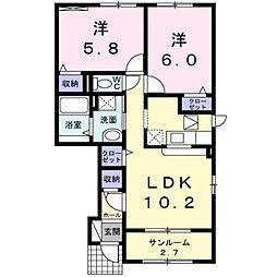富山県富山市藤木の賃貸アパートの間取り
