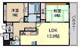 JR阪和線 堺市駅 徒歩2分の賃貸マンション 16階2LDKの間取り
