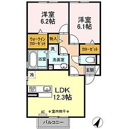 プリメーラII 2階2LDKの間取り