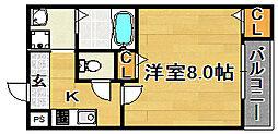 大阪府大阪市東淀川区東淡路5丁目の賃貸アパートの間取り