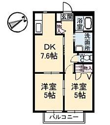 広島県呉市焼山中央5丁目の賃貸アパートの間取り