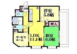 エスポワール六甲道[304号室]の間取り