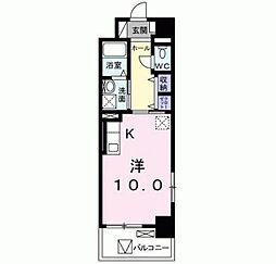 北九州都市モノレール小倉線 香春口三萩野駅 徒歩8分の賃貸マンション 6階ワンルームの間取り