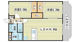 エスペランス姫路[203号室]の間取り