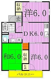 千葉県野田市尾崎の賃貸アパートの間取り