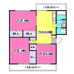 東京都東大和市南街3丁目の賃貸マンションの間取り